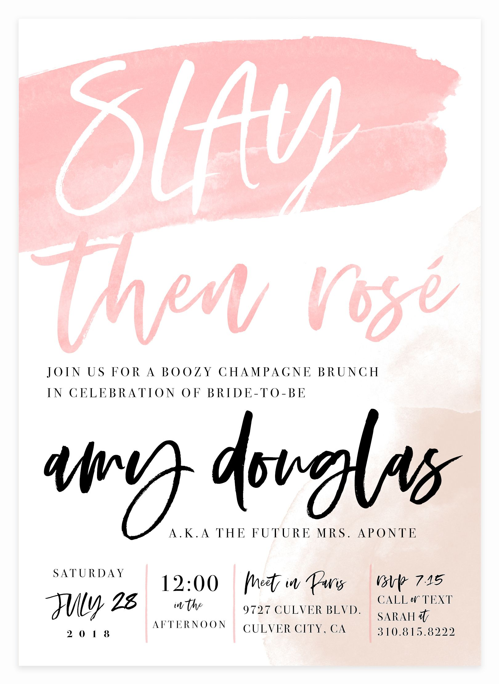 Slay then Rosé, Champagne Bridal Shower Invitation for Bride to Be ...