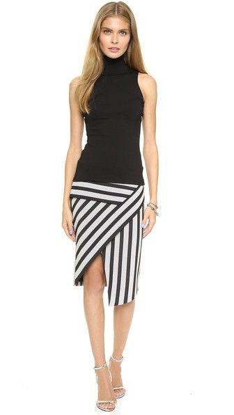 Asymmetrical Stripe Peplum Skirt