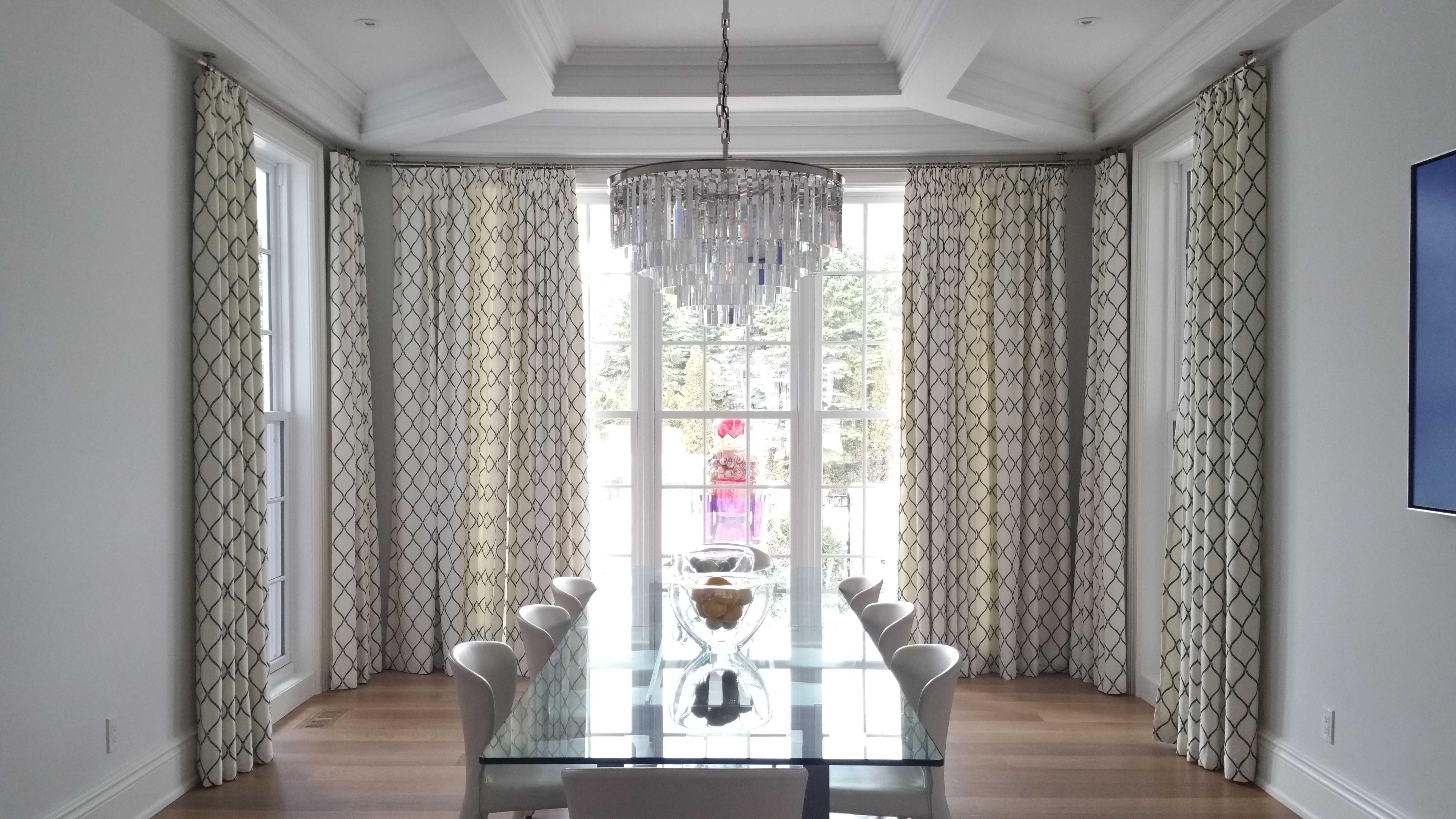 Make A Statement And Create A Backdrop For Your Dining Space With Custom Embroidered Drapery Panel Dining Room Curtains Dining Room Drapes Dining Room Windows