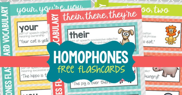 Free Printable Homophone Flashcards and Word Wall Words english