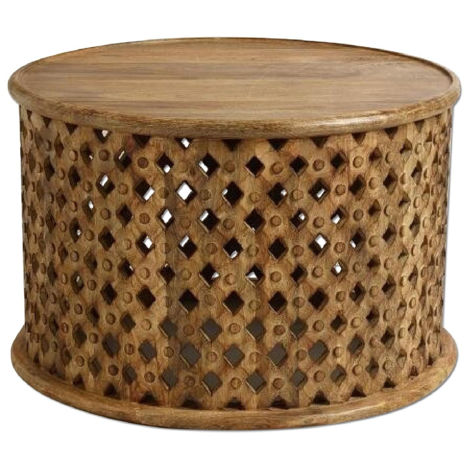 This is a Vintage African Drum Coffee Table for $500 00