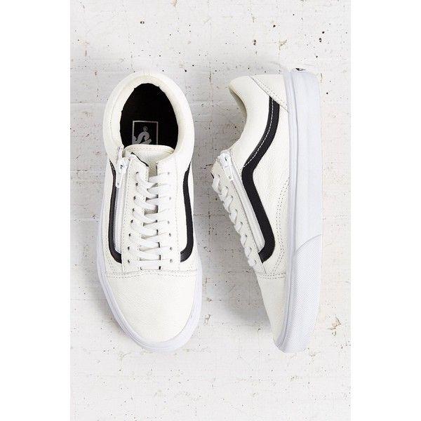 white leather vans black stripe
