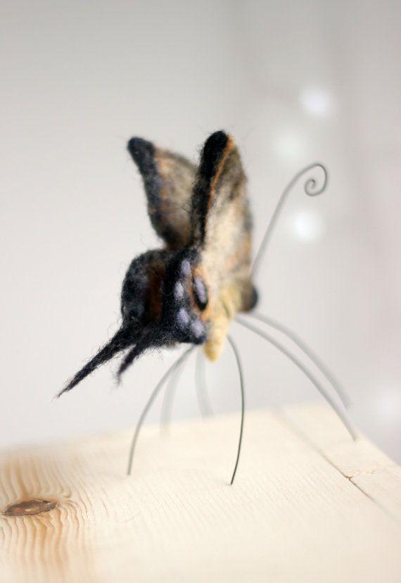 Needle Felt Butterfly Tiger Butterfly Easter by FeltArtByMariana
