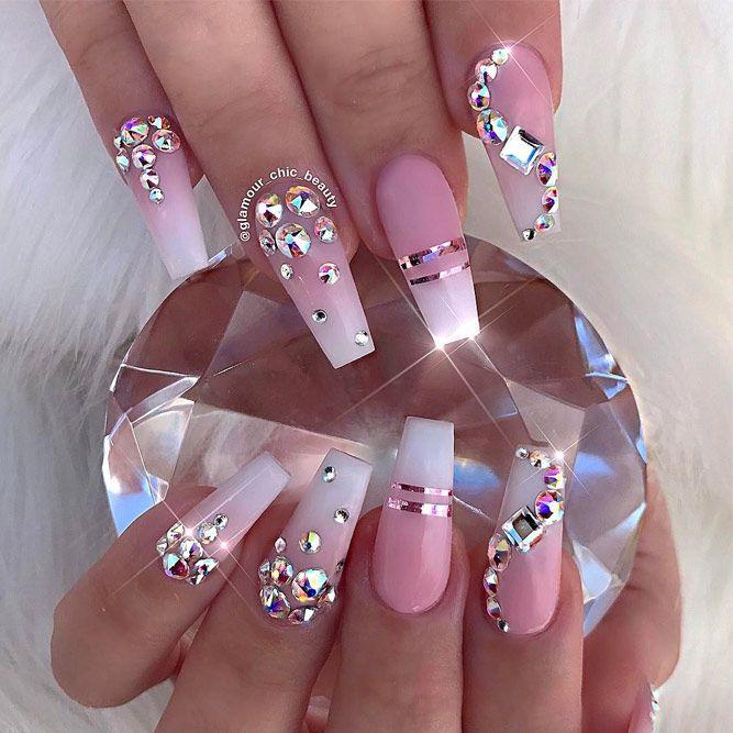 48 Pretty Nail Designs You Ll Want To Copy Immediately Bling Nail Art Bling Nails Rhinestone Nails