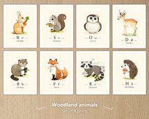 Beautiful Wald Tiere zu drucken Satz Wald Waldtiere Woodland Tiere Kinderzimmer Wald