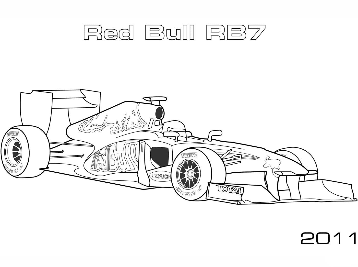 Red Bull Rb7 Formula 1 Car Coloring Page Cars Coloring Pages Coloring Pages Red Bull