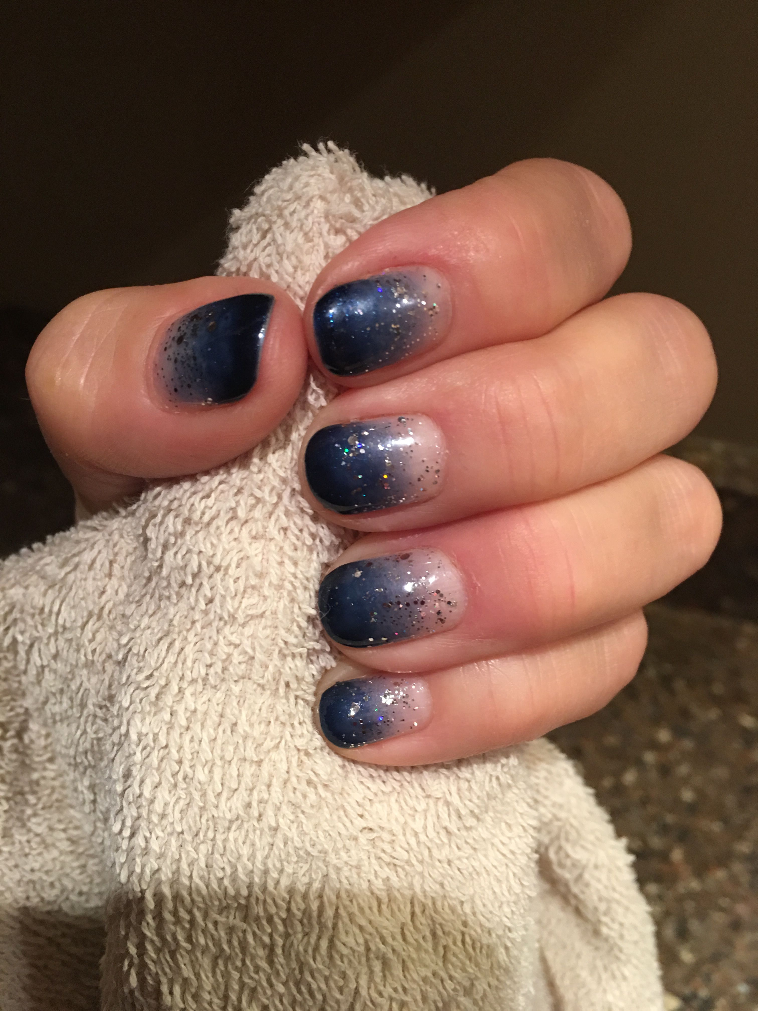 Ombré in Blue, with a touch of silver overlay.