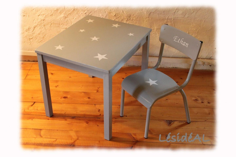 Ensemble table bureau et chaise enfant étoile vintage gris