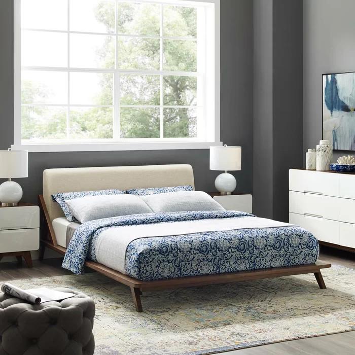 Lilly Queen Upholstered Platform Bed, Platform Fabric Queen Bed