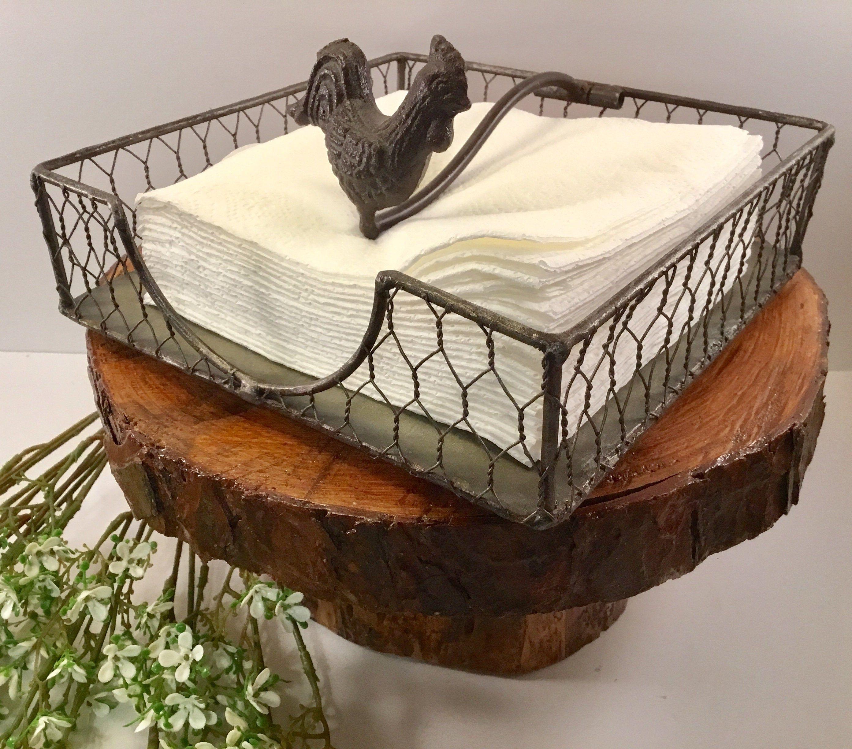 Metal napkin holder picnic decor galvanized napkin