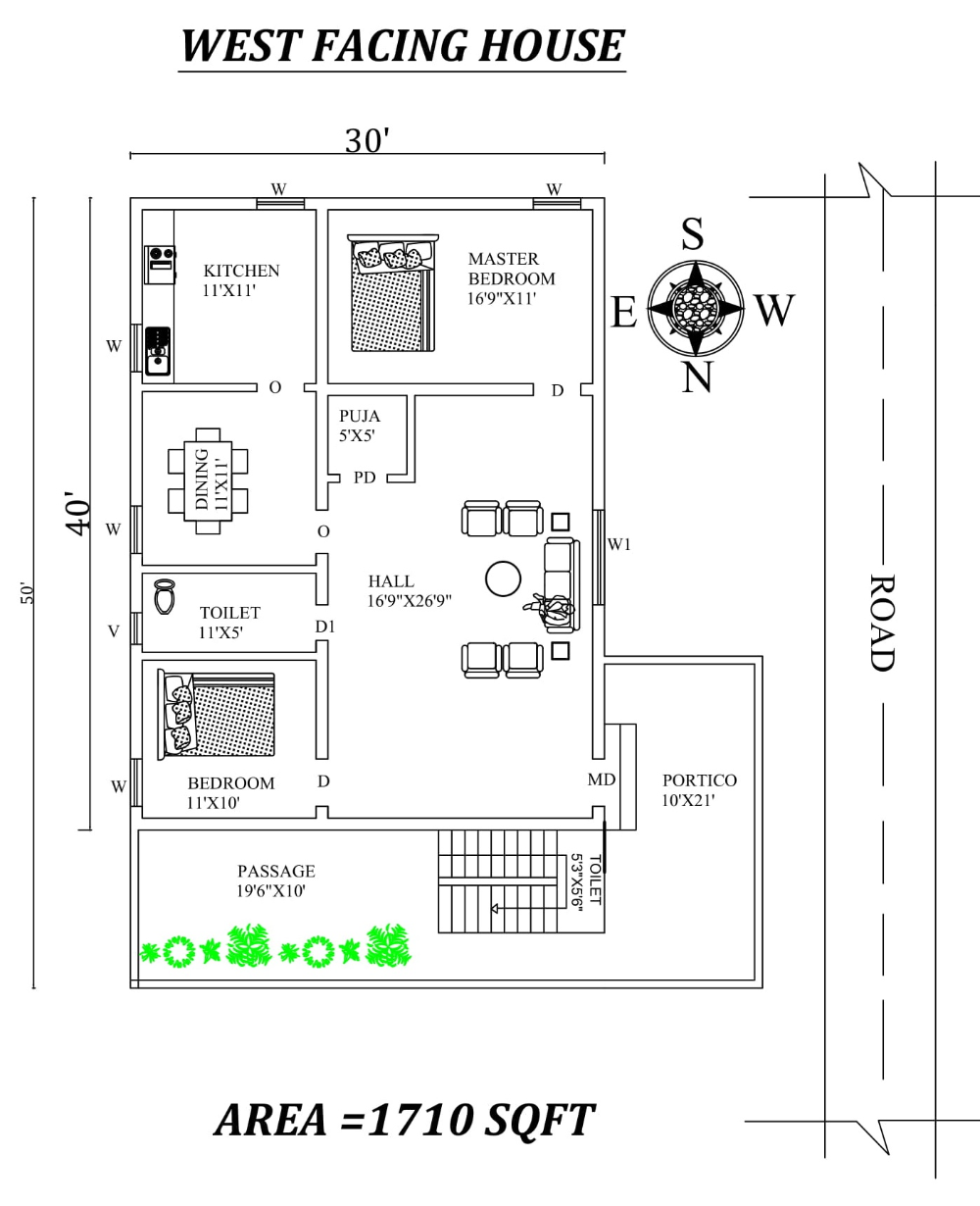 30 X50 Marvelous 2bhk West Facing House Plan As Per Vastu Shastra Autocad Dwg And Pdf File West Facing House Little House Plans Beautiful House Plans