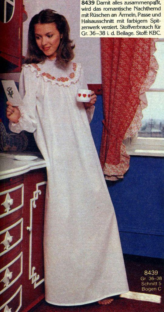 cfe48a2157d28d romantisches Nachthemd, 70er Jahre, schöne Rüschen und Bruststück ...