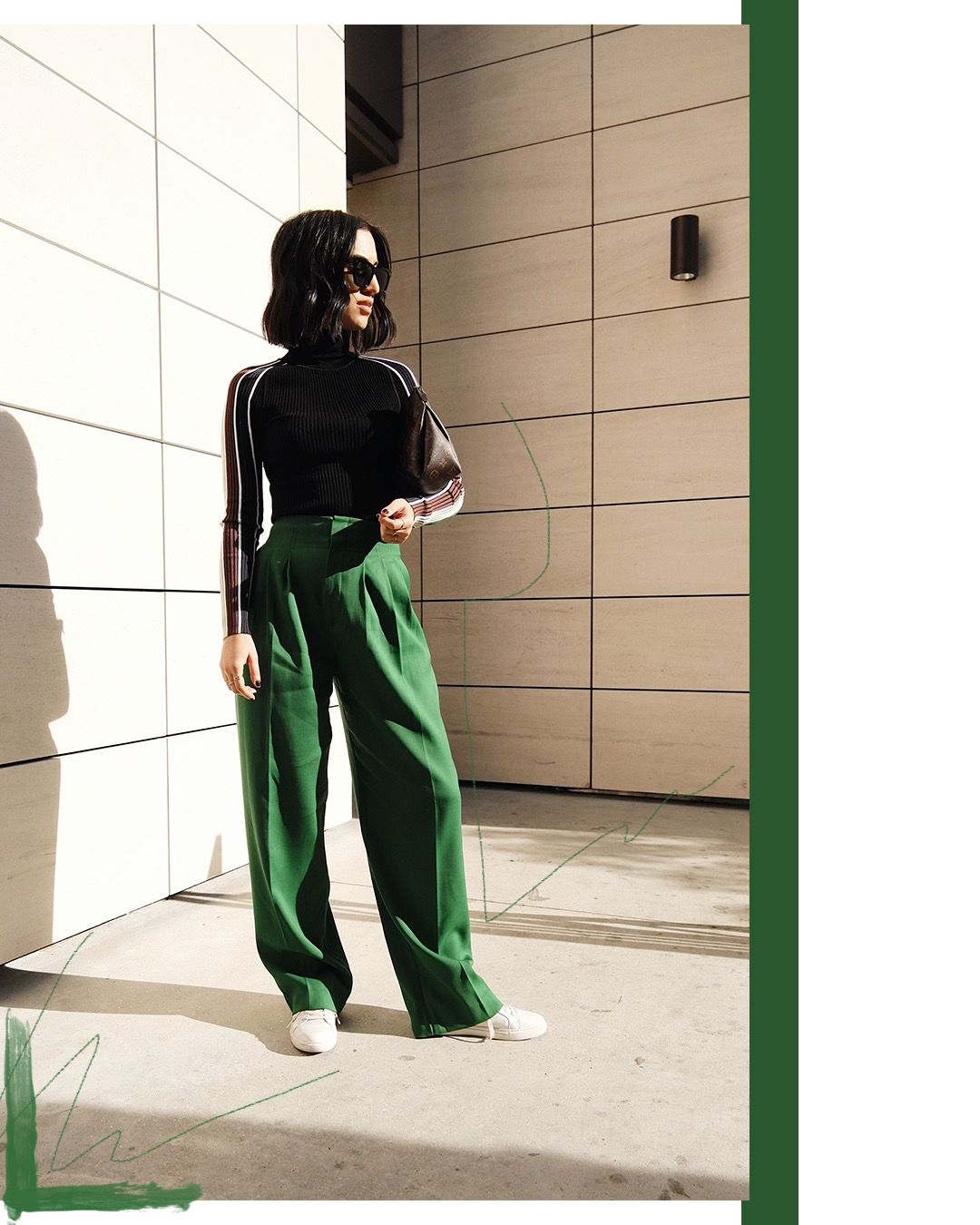 LA Blogger Tania Sarin featuring new upcoming brands starting with PH5 and their ribbed turtleneck paired with green H&M pants with edited photography made in LA.