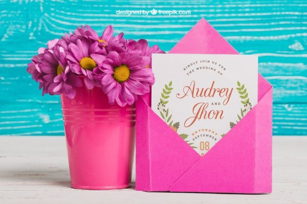Free Wedding Card Plus Flower Pot Mockup In Psd Free Wedding