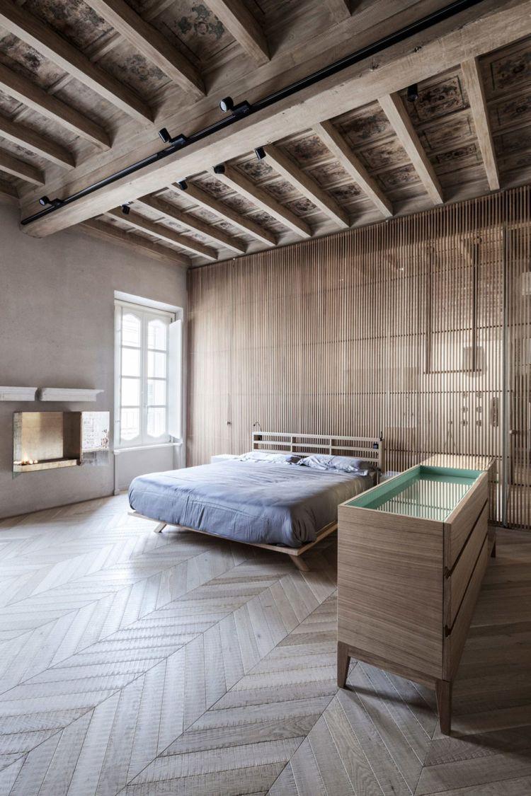 Trennwand aus holzlatten wohn design for Schlafzimmer mit trennwand