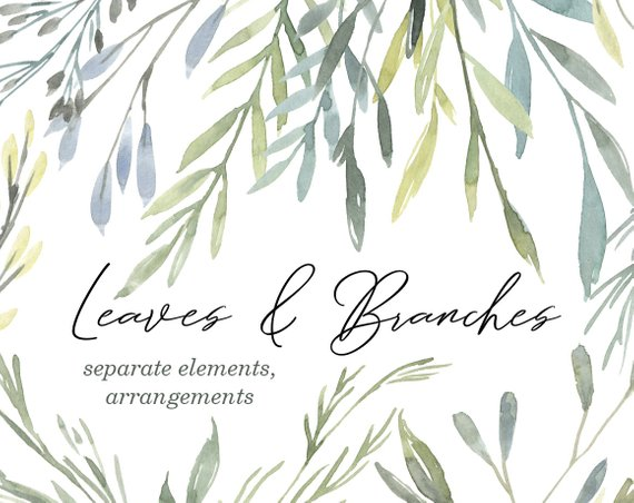Watercolor Branches Greenery Leaves Foliage Clip Art Aquarelle Etsy Christmas Watercolor Clip Art Frames Borders Birthday Card Template Free