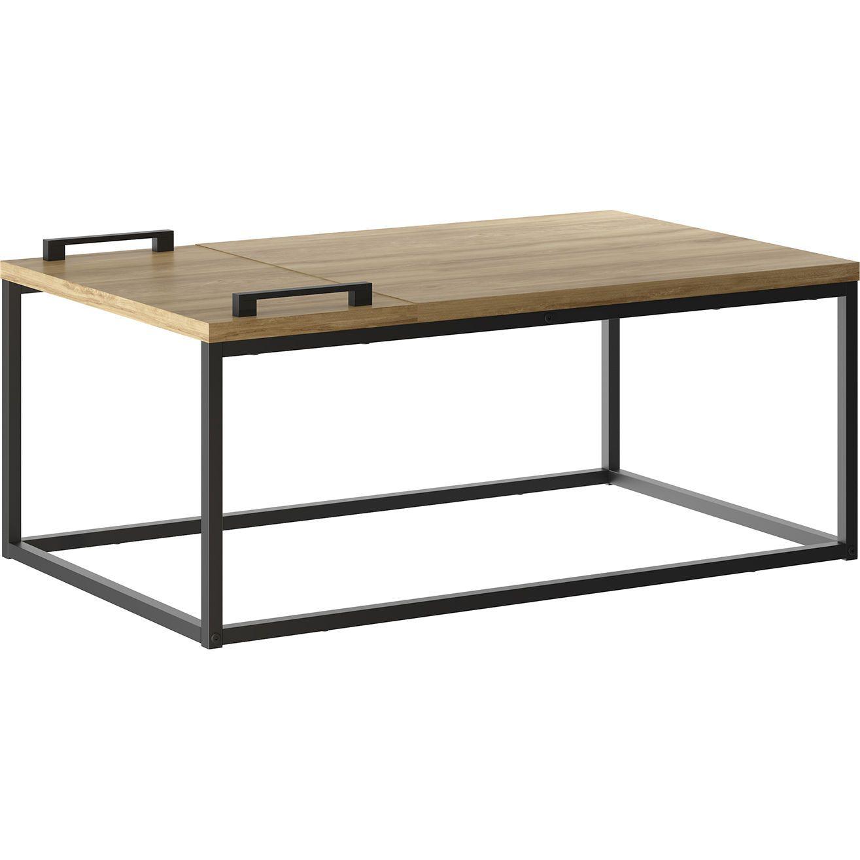 Hip 23 Kd B120ok Noa Coffee Table Removable Tray Oak Melamine Black Metal Coffee Table Oak Painted Metal Frame [ 1315 x 1315 Pixel ]