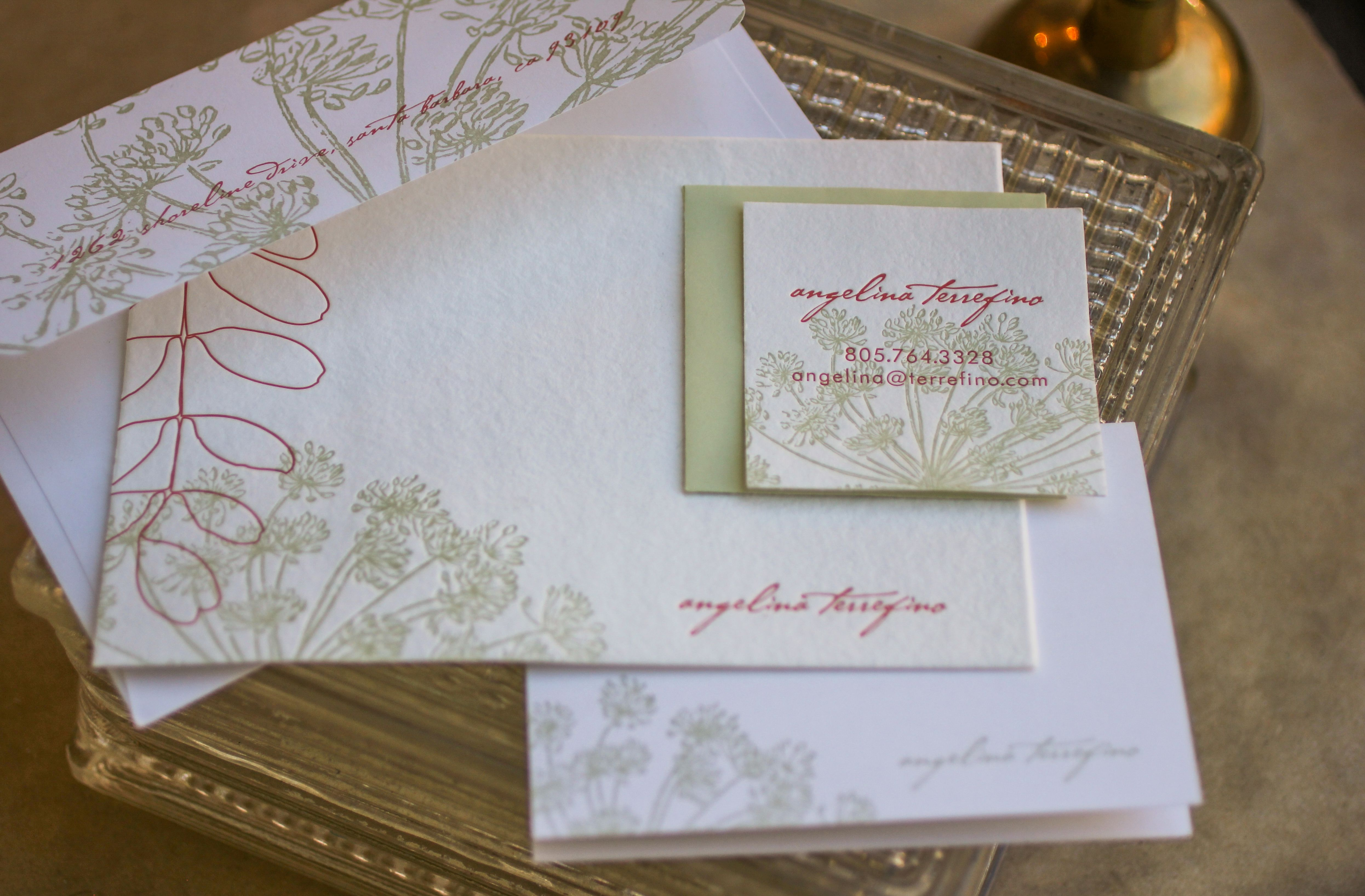 frond suite  express yourself on a botanically  inspired stationery suite that illustrates the joy of springtime with lovely organic lines SHOWN IN: coral + meadow inks  on 100% recycled white, cotton envelopes + pale green liner