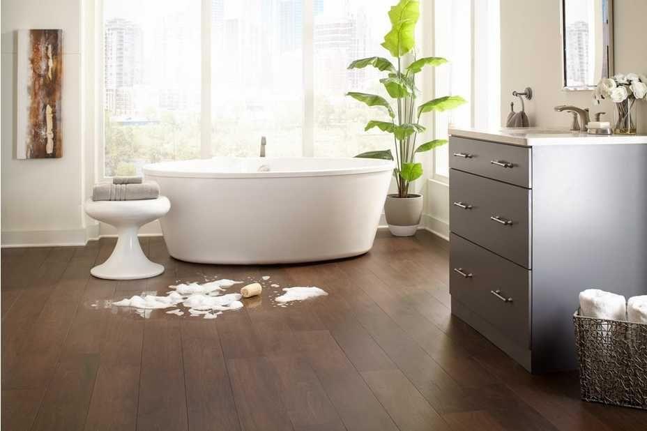Rooms Bathroom 3 Albion Aquaguard Dark Brown Walnut Water Resistant Engineered Hardwood Spill Bathroom Room Bathroom Design Black
