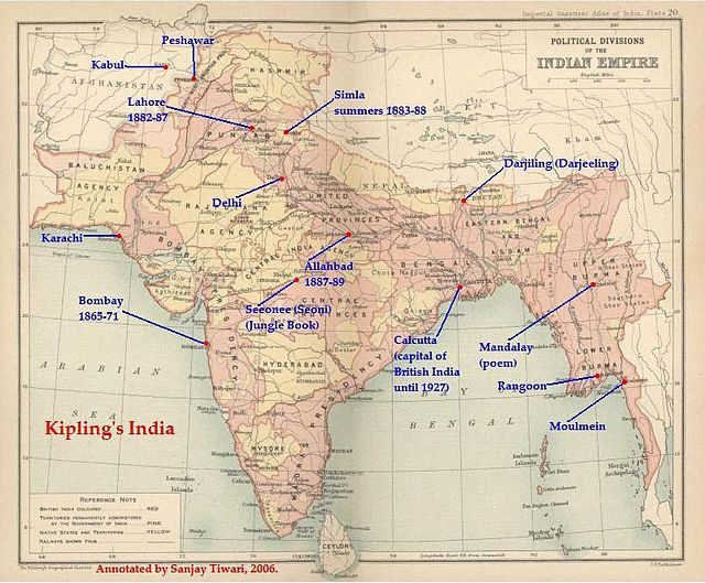 Kiplings india a map of british india books reading rooms and the british indian empire from the 1909 edition of the imperial gazetteer of india areas directly governed by the british are shaded pink the princely fandeluxe Images
