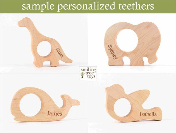 natural wood TEETHER dachshund puppy an от SmilingTreeToys
