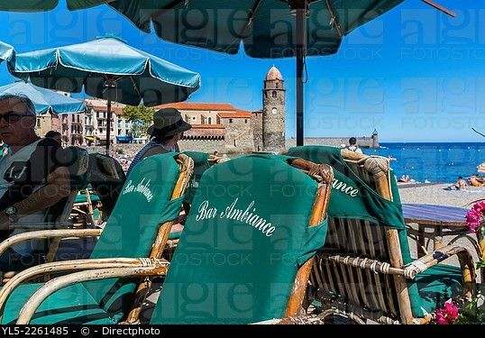 Collioure, France, Beach Scene, French Cafe Terrace at Seaside Village near Perpignan, South of France.