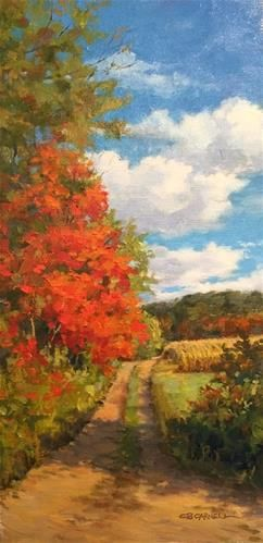 """Daily+Paintworks+-+""""Fall+Farm+Lane+An+Original+Oil+Painting+by+Claire+Beadon+Carnell""""+-+Original+Fine+Art+for+Sale…"""