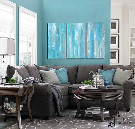Large Aqua Blue Abstract Triptych Teal Gray Tan White Living Dining Room Or Bedroom Wall Art Tall 3 Piece Canvas Print Set Living Room Grey Living Room Color Living Room Inspiration