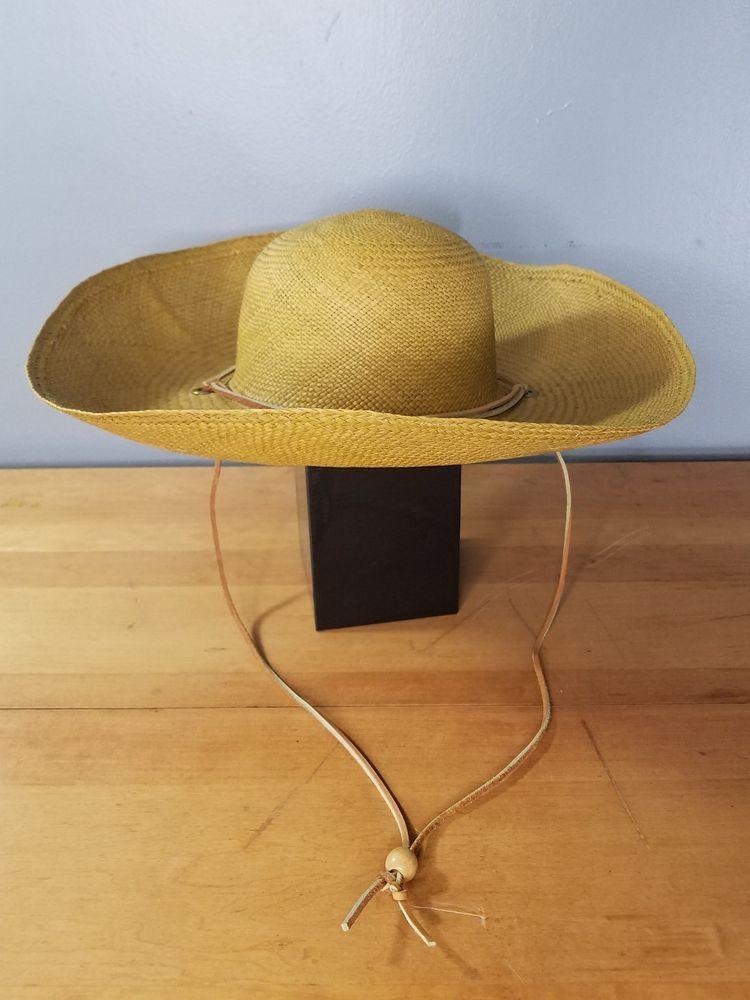 95cff43dc Wide Brim Round Straw Hat Leather Strap Curved Brim Summer Beach ...