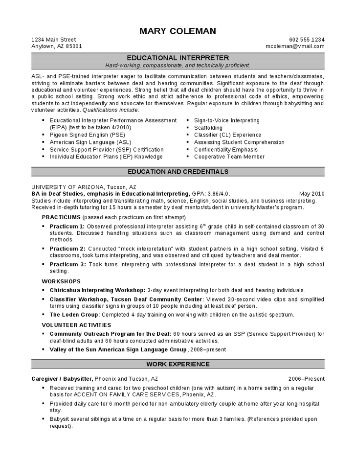 Interpreter Resume Resume For Interpreter For Foreign Language  The Best Estimate