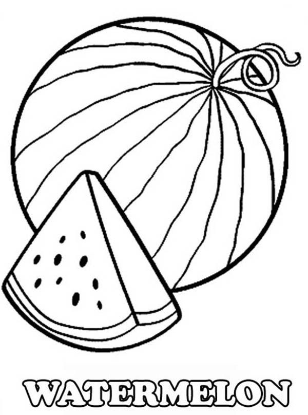 a slice of fresh watermelon coloring page - Slice Watermelon Coloring Page