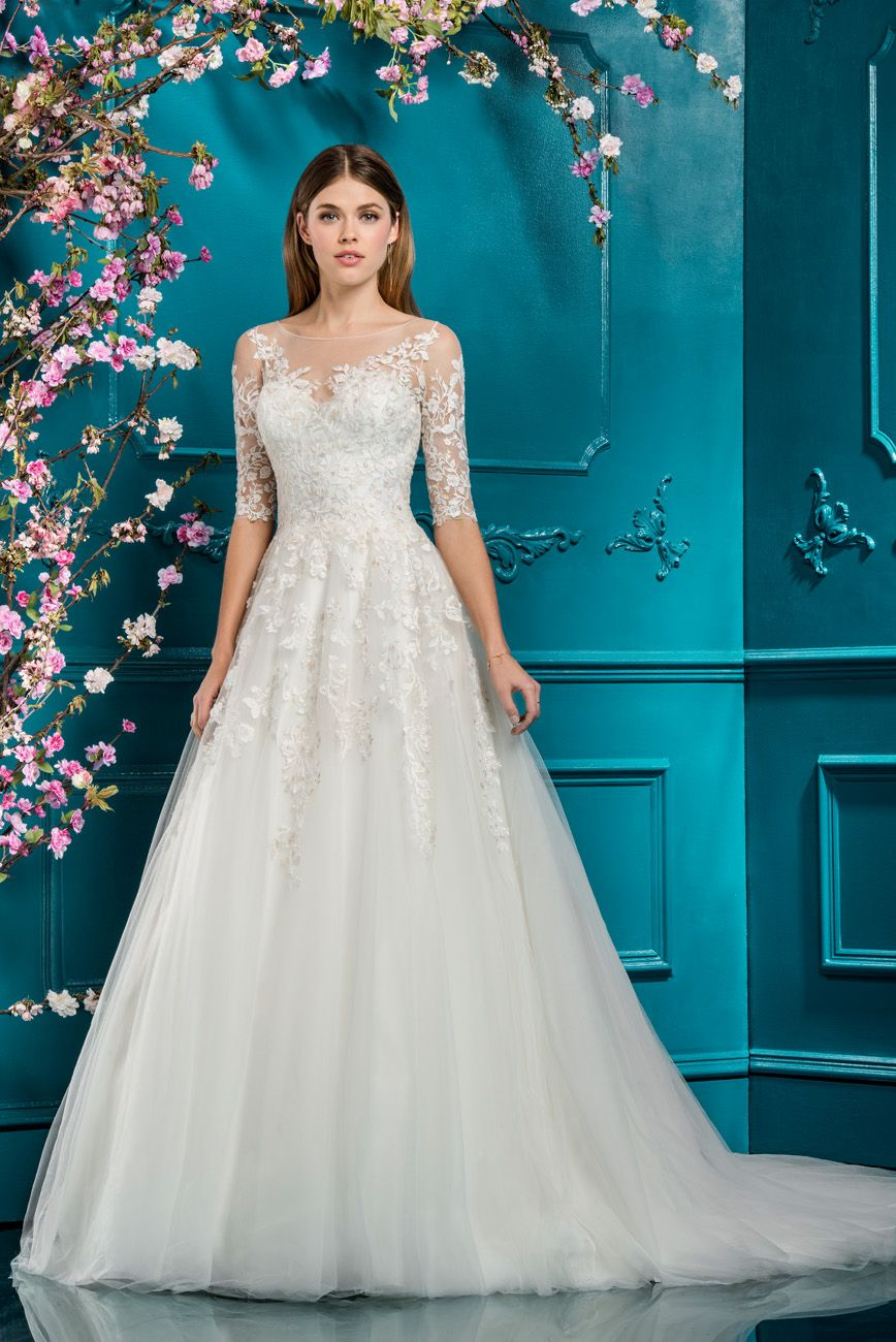 Ellis Bridals Tulle Ballgown Wedding Dress Style 12270 With Sparkle Embroidery 2018 Collection