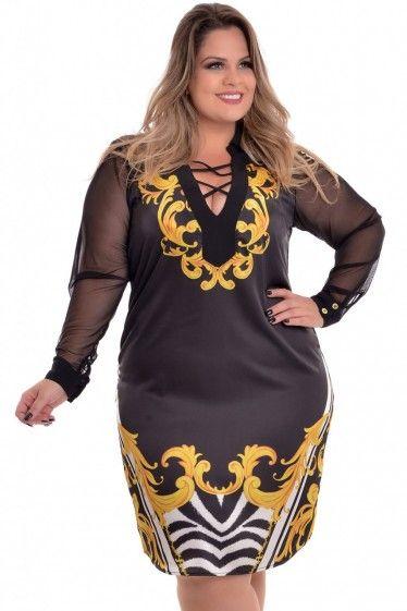 113cb366a Vestido Plus Size Golden Arabesco
