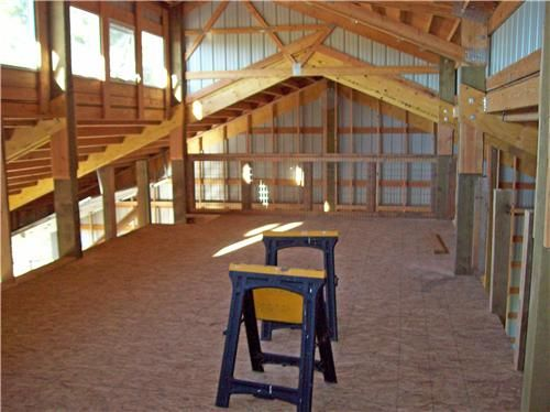 Pole barn with living quarters plans custom shop with for Pole barn living space