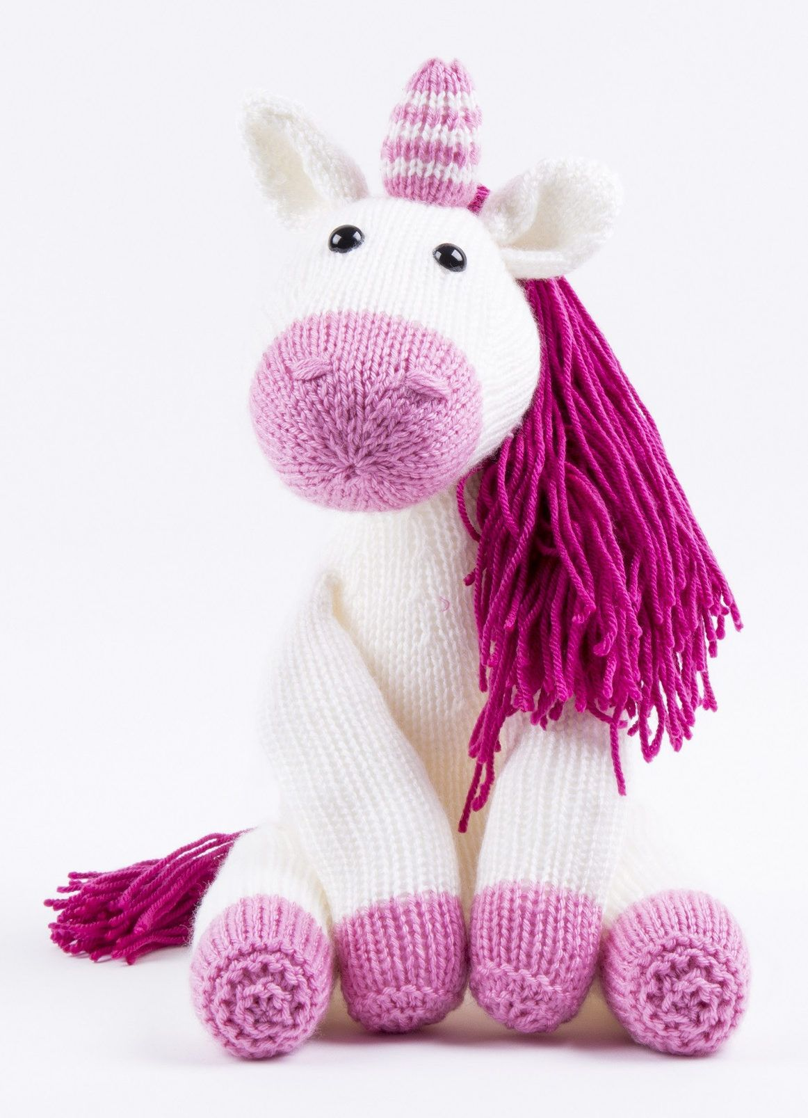 seated horse pony Girls STRIPED UNICORN TOY KNITTING PATTERN DK 45cm