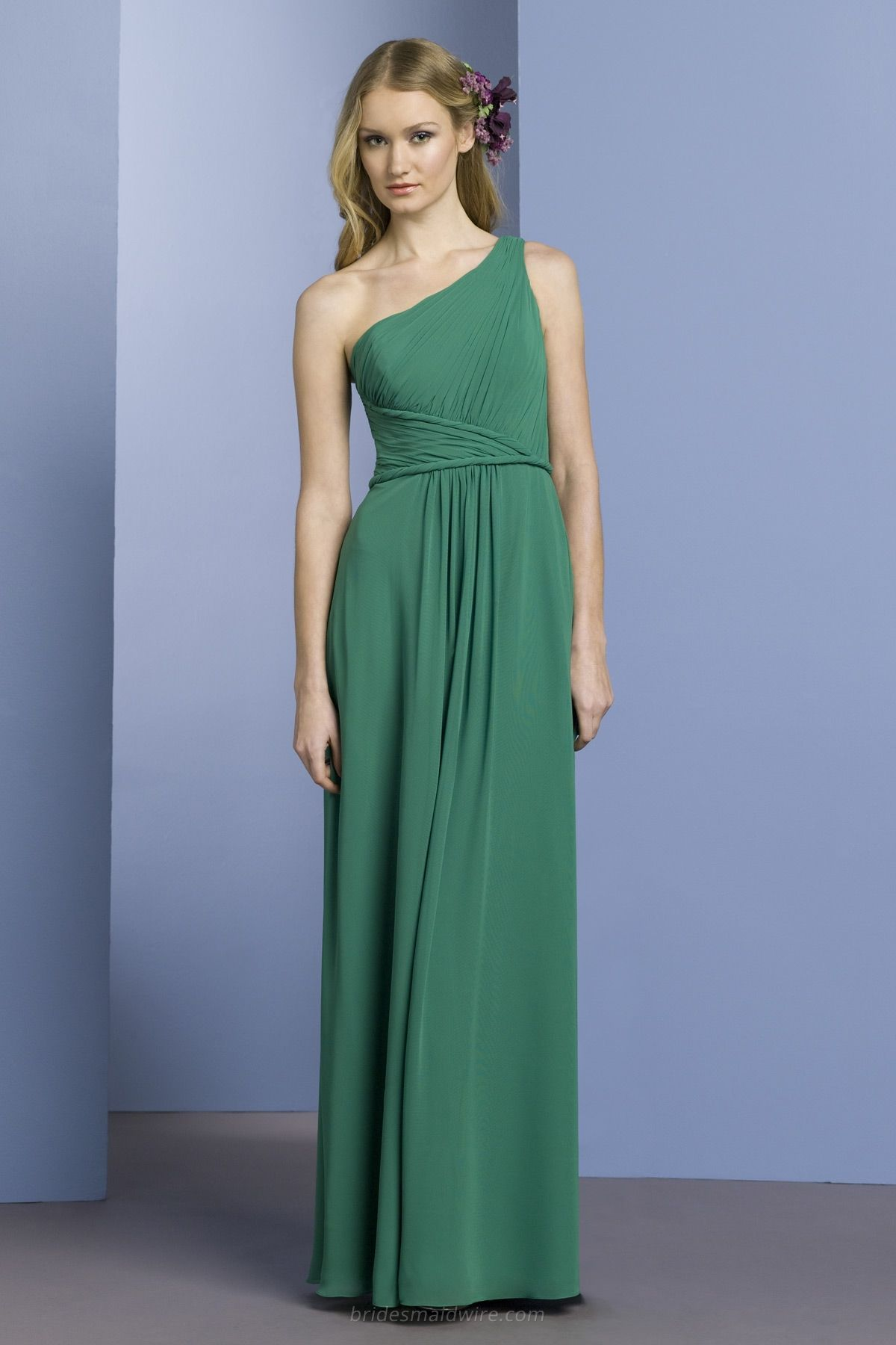 One-shoulder Emerald Grecian Asymmetric Long Bridesmaid Gown ...
