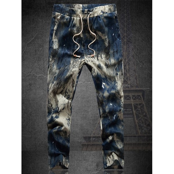 11.9$  Watch here - http://diofp.justgood.pw/go.php?t=185392208 - Plus Size Multicolor Lace-Up Straight Leg Men's Tie-dyed Nine MInutes of Pants 11.9$