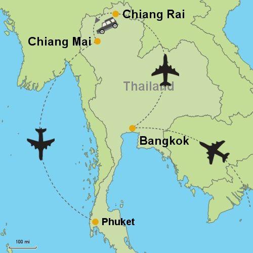 MAP Bangkok Chiang Rai Chiang Mai Phuket Thailand