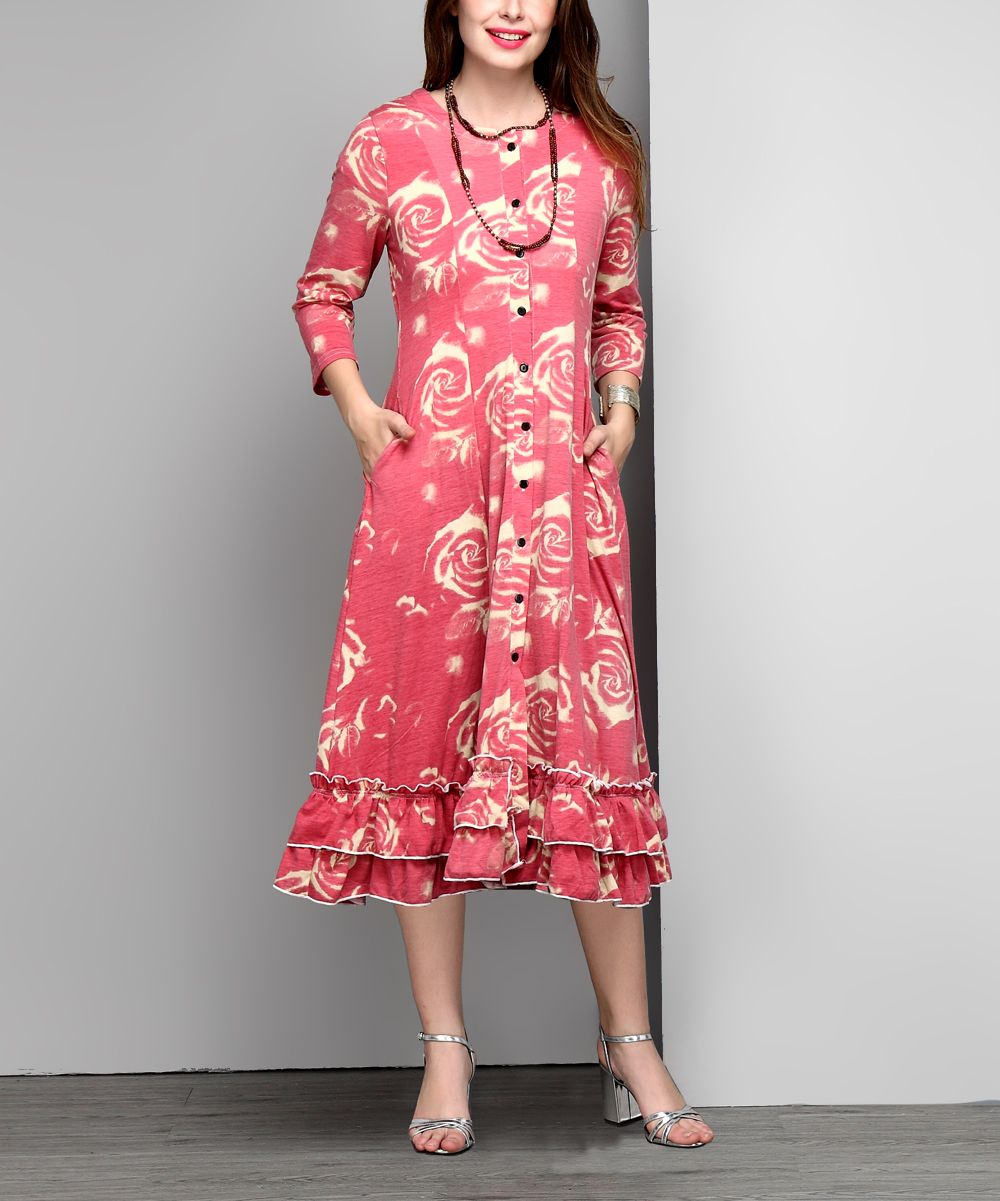 Reborn Collection Pink Floral Button-Down Ruffle-Hem Maxi Cardigan ...