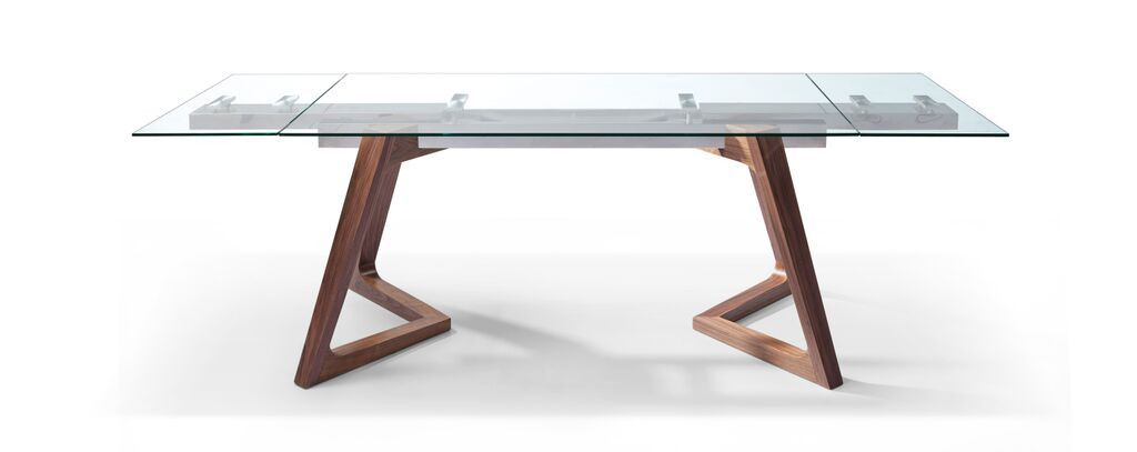 Premium Glass Desk Or Conference Table With Solid Wood Legs