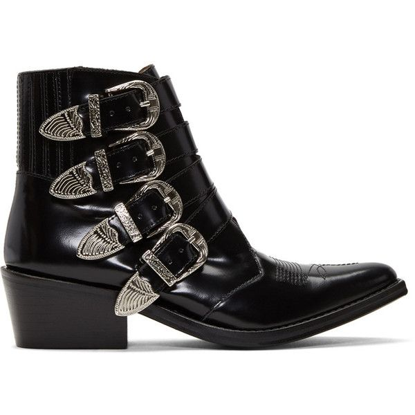 Buy Cheap Clearance Store Black Leather Four-Buckle Boots Toga Archives For Sale Top Quality Cheap Sale Browse 27WYitk5AP