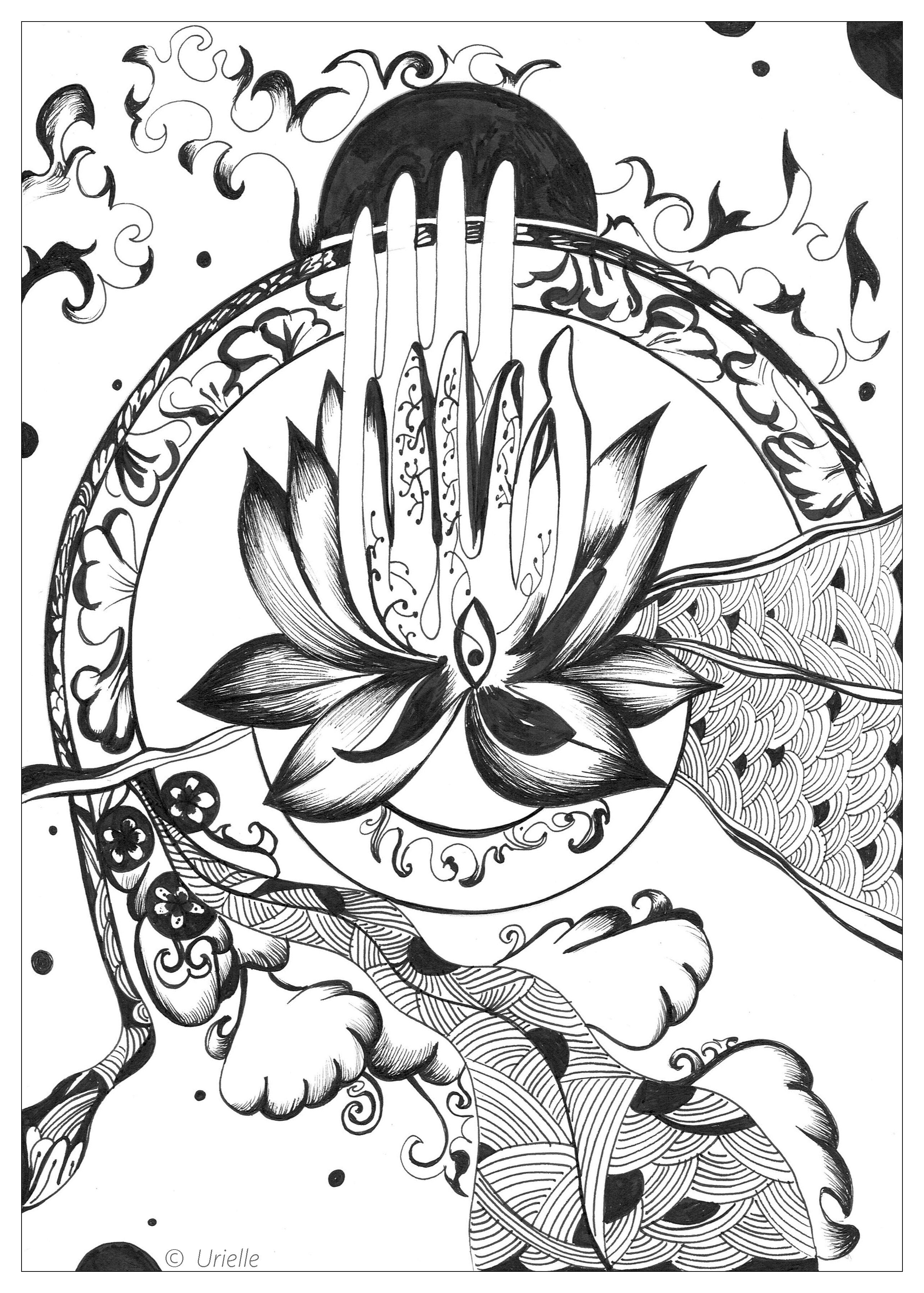 Printable coloring pages zen - Discover 3 New Incredible Coloring Pages Created By Our Partner Artist Urielle Force Sweet Contemplation Et Peace And Serenity