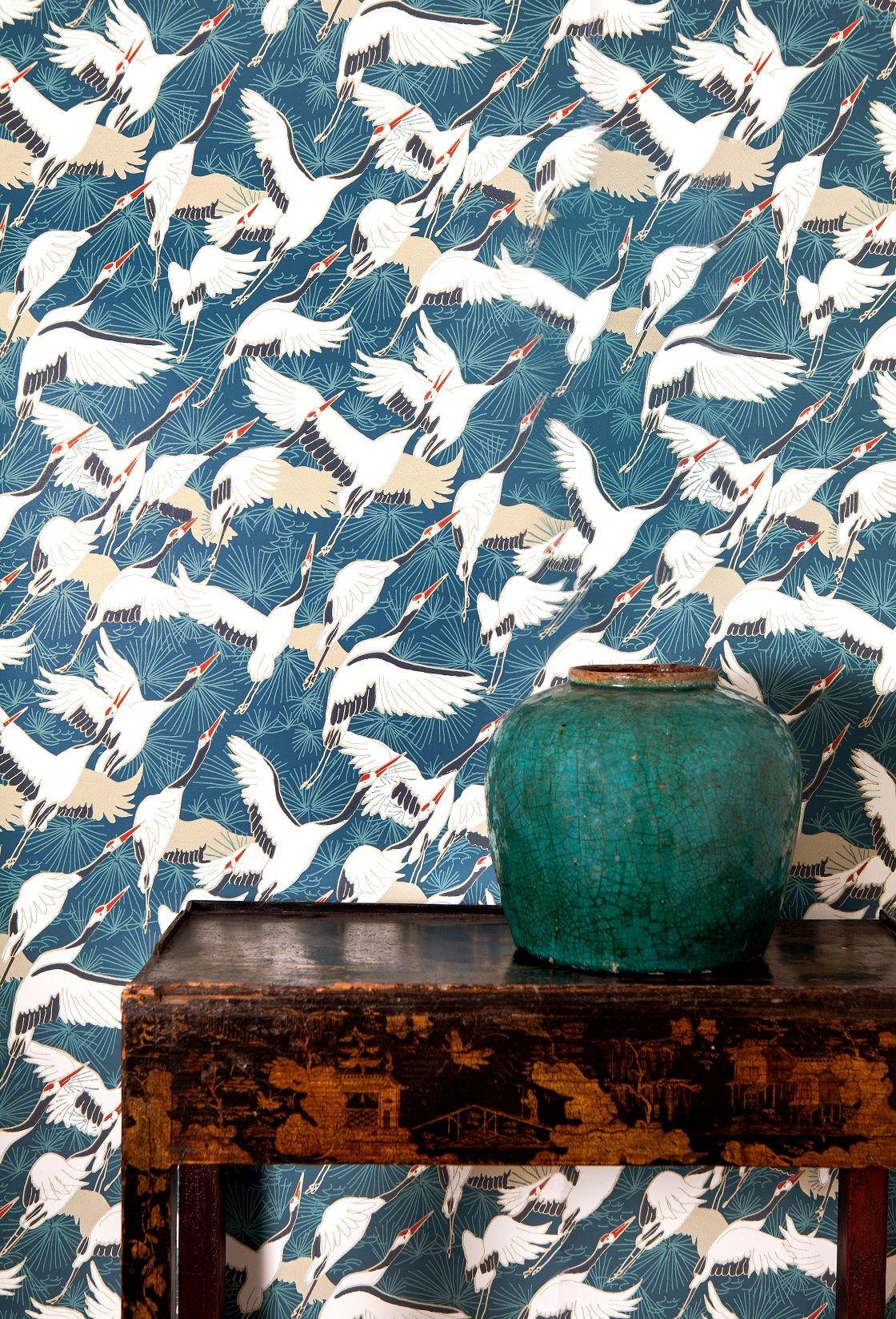Cranes Blue Wallpaper