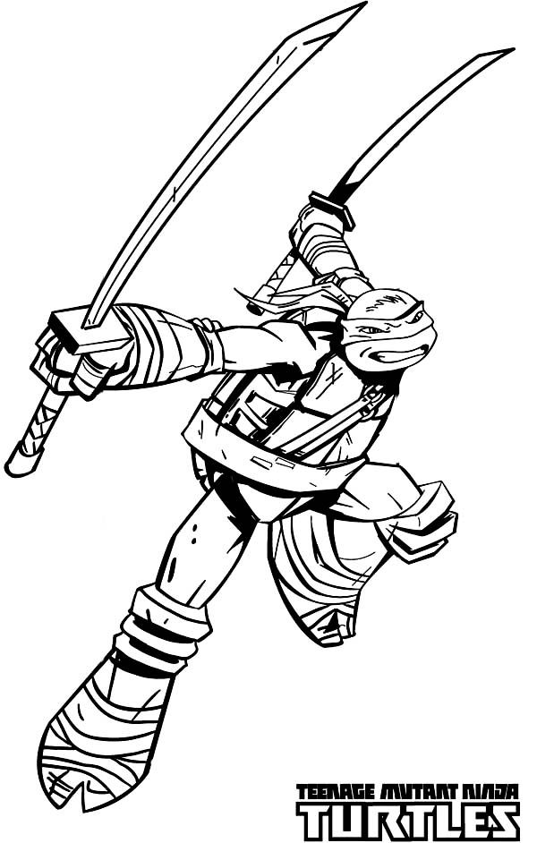 Teenage Mutant Ninja Turtles Katana Blades Is Leonardo Weapon Of Choice Coloring Page Free Printable