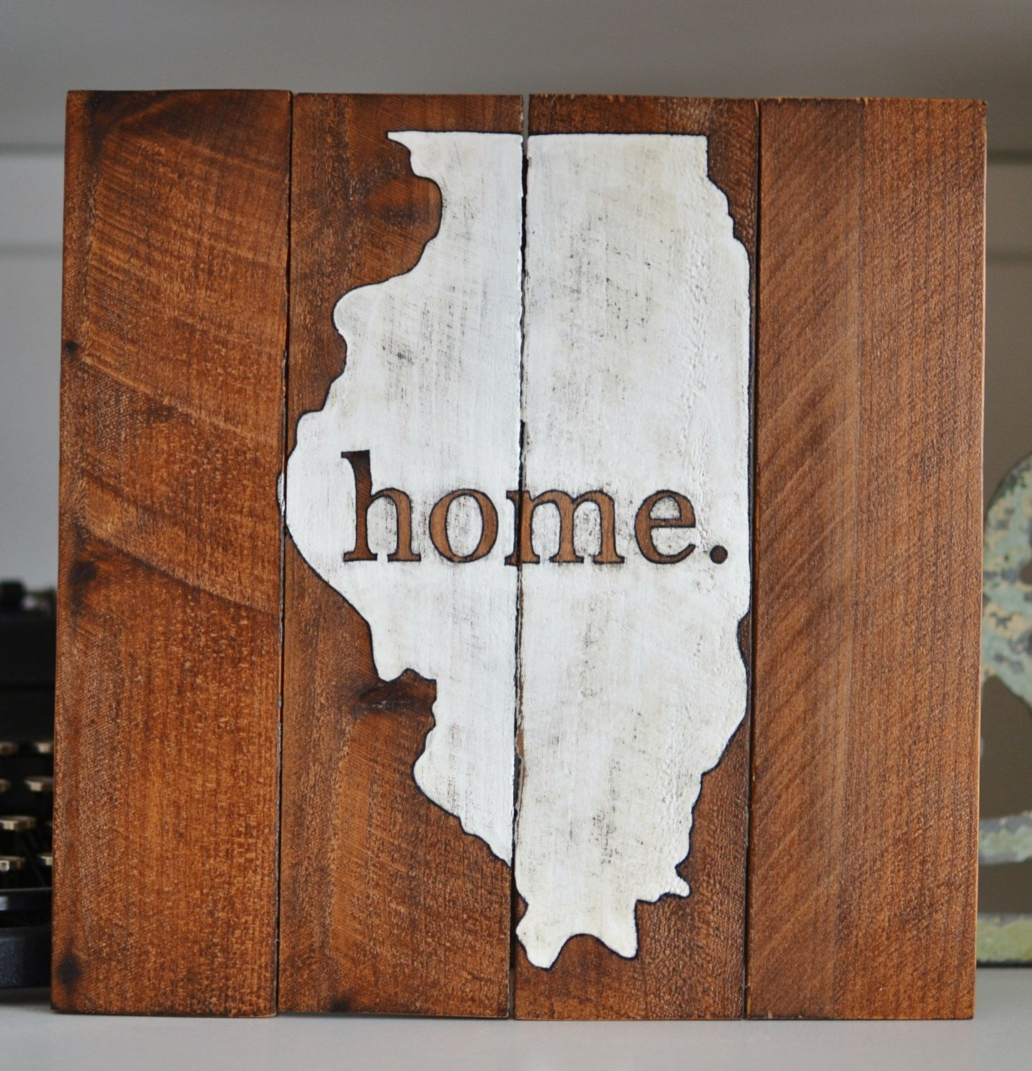 Illinois HOME Wooden Sign- Wood State Sign- Reclaimed Wood Style ...