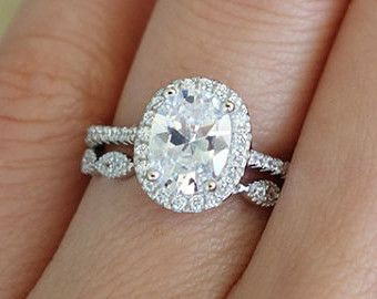 3/4 ctw Halo Wedding Ring, Vintage Style Ring, Man Made Diamond ...