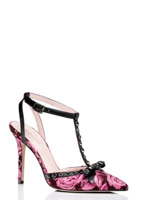790a1b13f41b lydia heels - Kate Spade New York. Pink floral pattern with black accents.