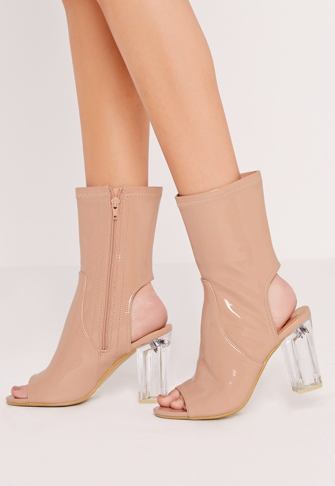 1ea0b9e412c Missguided - Peep Toe Perspex Block Heel Perspex Heel Nude   Style ...