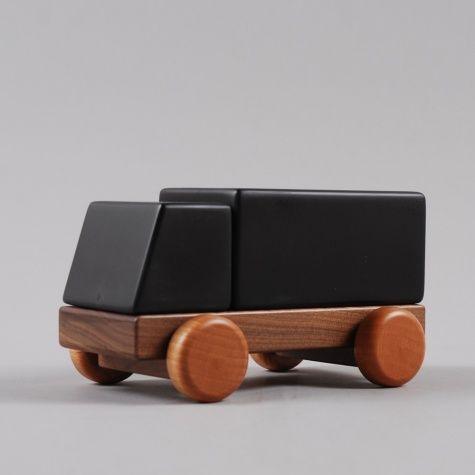 magnets in the wood. chalkboard paint. Huzi truck.