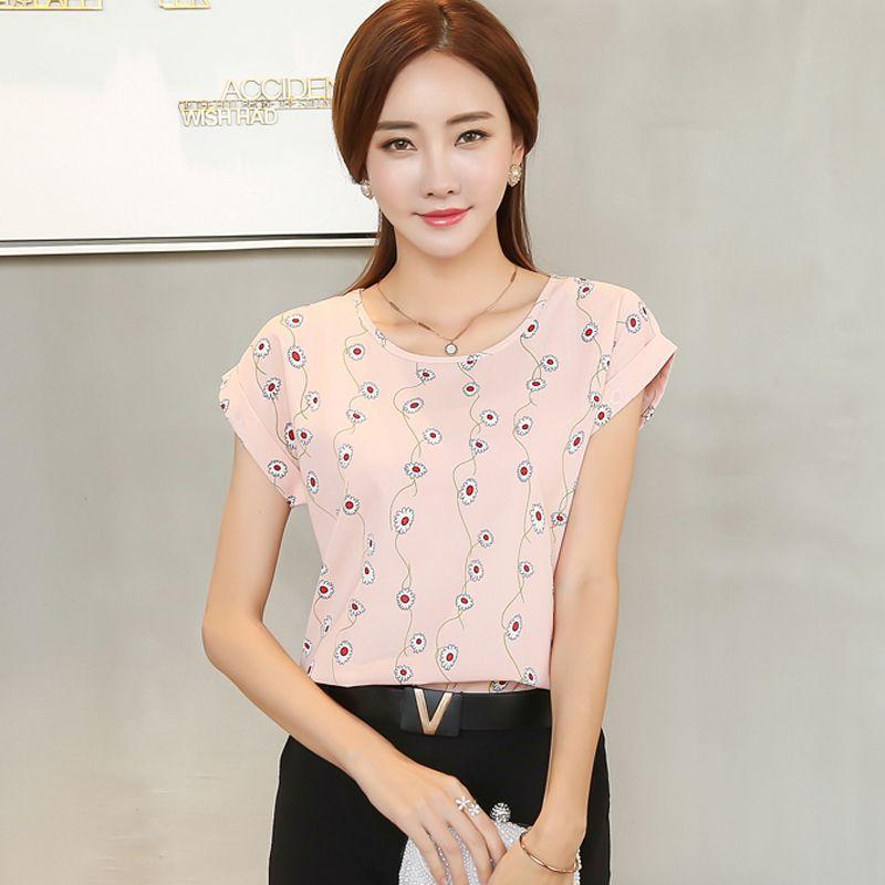 b8715580e46 2017 women blouse shirt fashion short-sleeved women casual loose chiffon  blouse ladies chiffon plus size shirt top 30